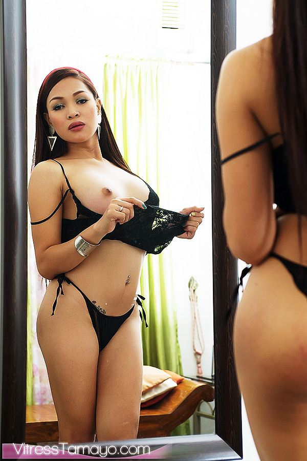 Curvy asian tranny